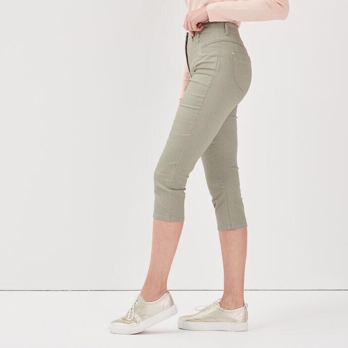 Pantacourt taille haute vert clair femme