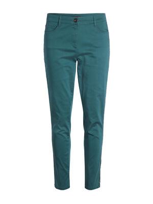 Pantalon taille standard ajuste vert canard femme