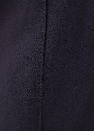 Jupe droite ceinturee bleu fonce femme