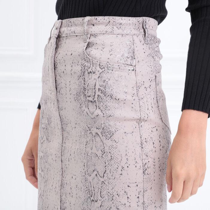 Jupe tube 5 poches gris clair femme