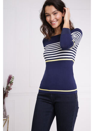Mariniere rayure contrastee bleu fonce femme