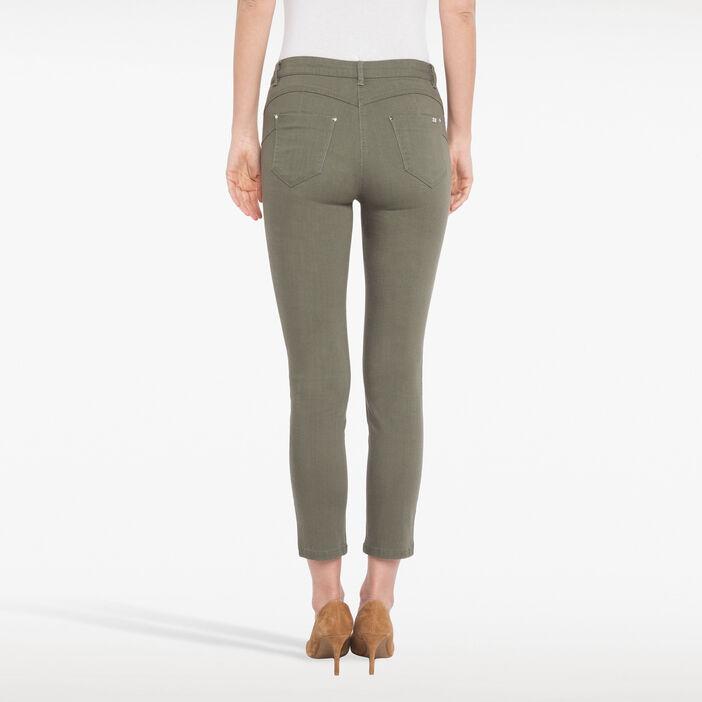 Pantalon 7/8ème avec zips décoratifs vert foncé femme