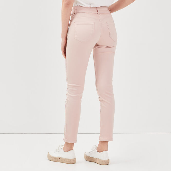 Pantalon ajusté taille haute vieux rose femme