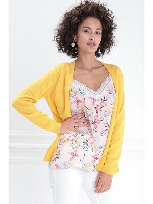 Gilet manches longues volante jaune femme