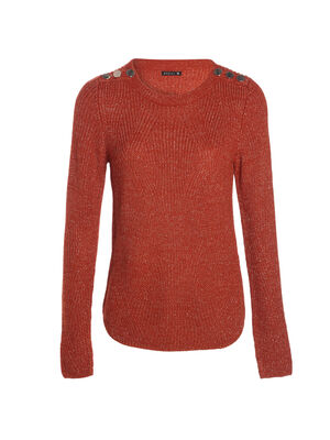 Pull fantaisie a epaules boutonnees orange fonce femme