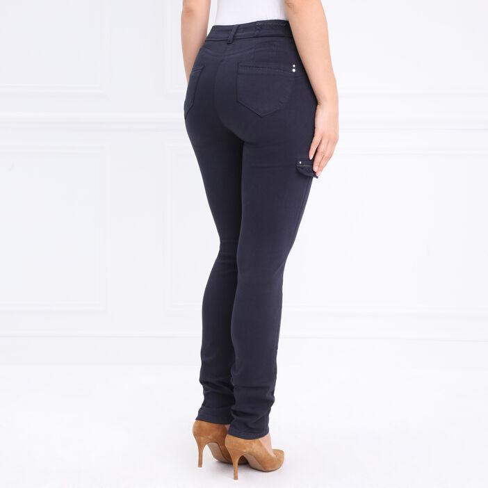 Pantalon cargo à poches brodées gris foncé femme