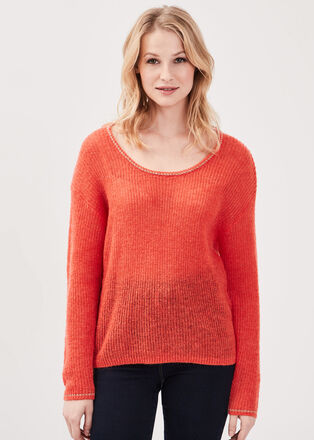 Pull manches longues orange corail femme