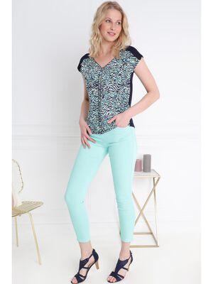 Pantalon leger toucher doux vert menthe femme