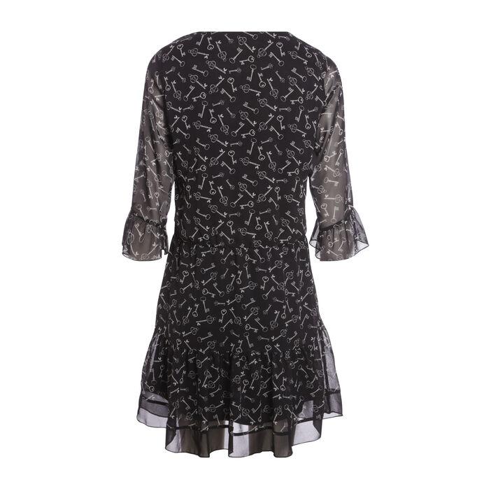 Robe blousante manches 3/4 noir femme
