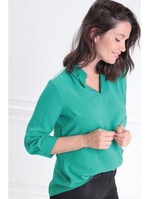 Blouse manches 34 col en V vert menthe femme