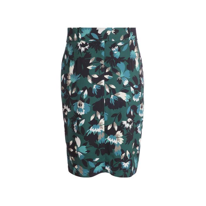 Jupe courte portefeuille imprimée vert foncé femme