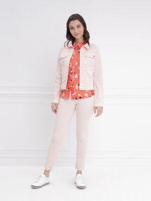 Pantalon ajuste taille haute rose clair femme