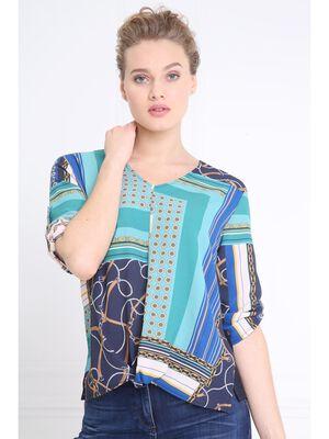 T shirt ample imprime avant bleu marine femme