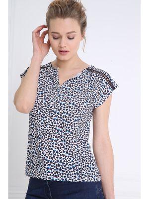 T shirt imprime details epaules ecru femme