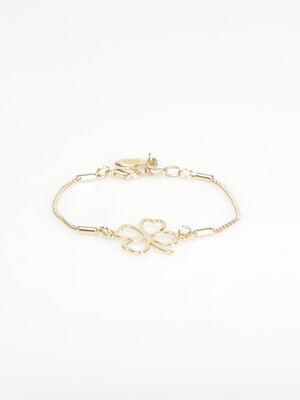 Bracelet metal trefle ajoure couleur or femme