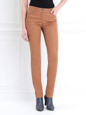 Pantalon ajuste liseres camel femme