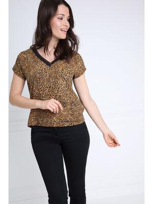 T shirt manches courtes col V camel femme