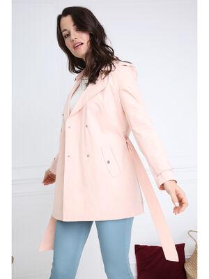 Trench droit coton a capuche rose clair femme