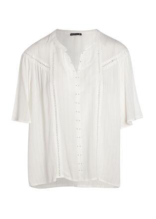 Chemise manches 34 avec jours ecru femme