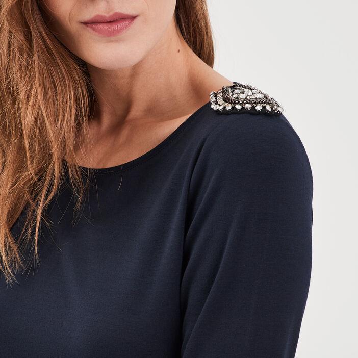 T-shirt manches longues bleu foncé femme