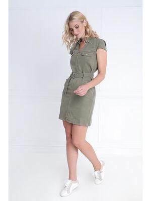 Robe courte droite zippee vert kaki femme
