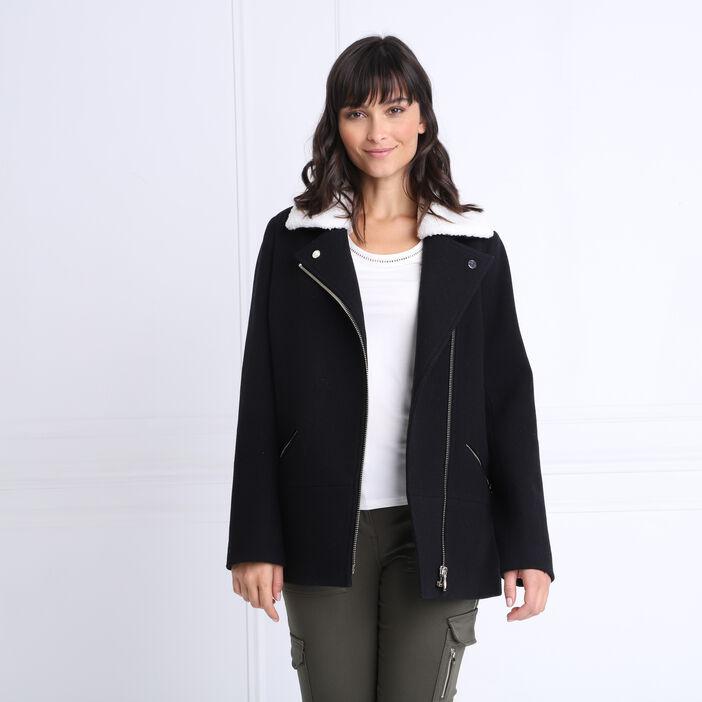 Manteau cintré col aviateur noir femme