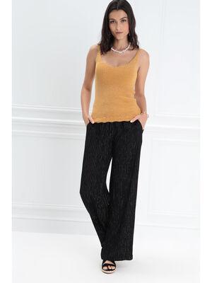 Pantalon large taille standard noir femme