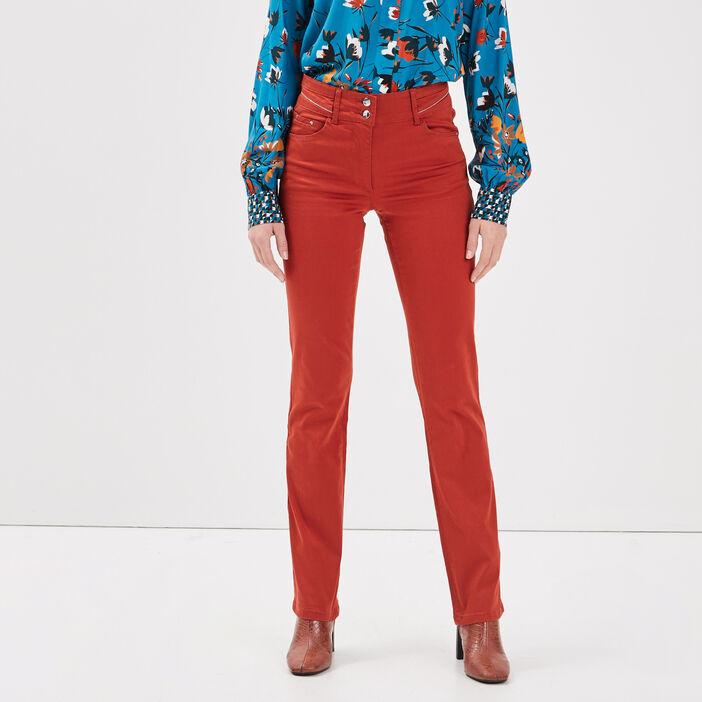 Pantalon droit taille standard marron foncé femme