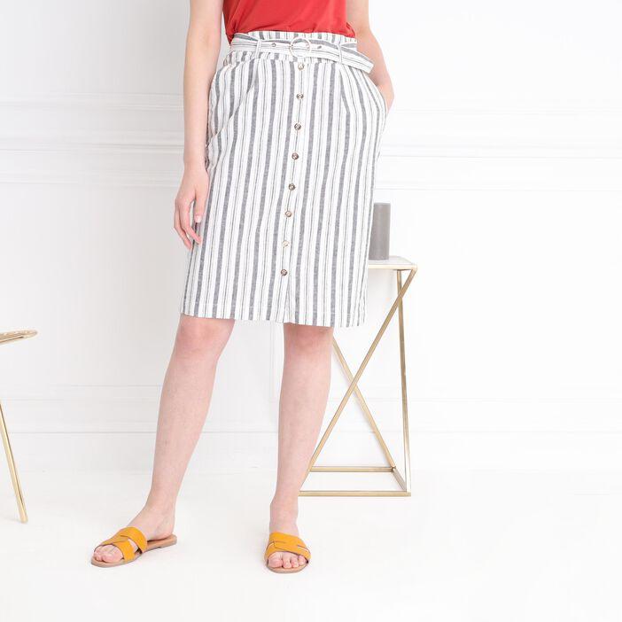 Jupe droite taille standard ivoire femme