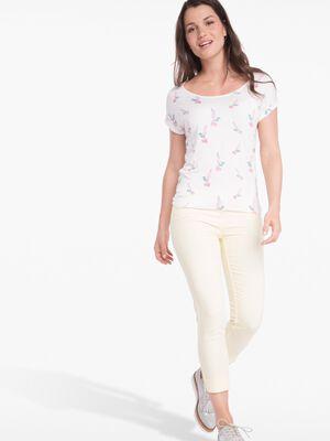 Pantalon 78eme ajuste taille basculee jaune clair femme
