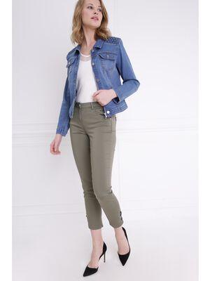 Pantalon ajuste taille basculee vert kaki femme
