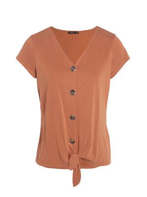 T shirt manches courtes devant nouee orange fonce femme