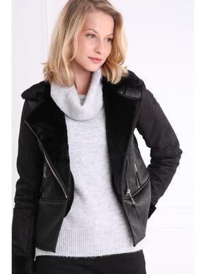 Manteau col crante doublure fantaisie noir femme