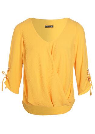 Blouse manches 34 drape jaune or femme