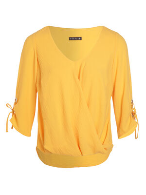 Top detail oeuillets manches jaune or femme