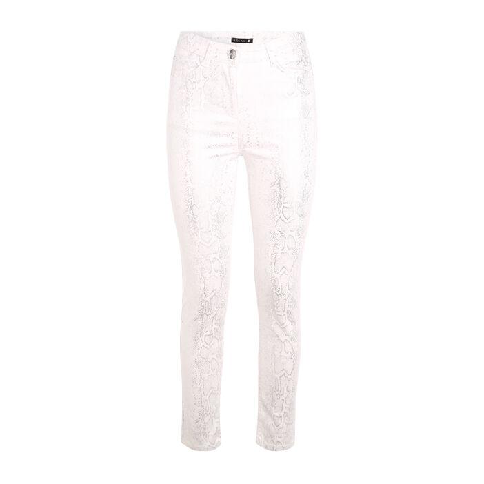 Pantalon imprimé serpent blanc femme