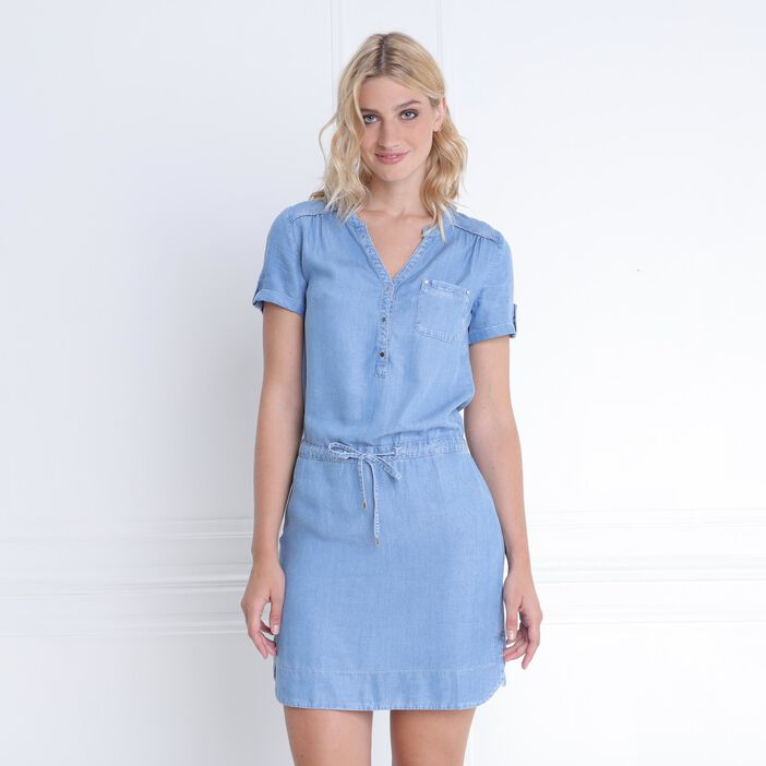 Robe lyocell coulisse taille denim double stone femme