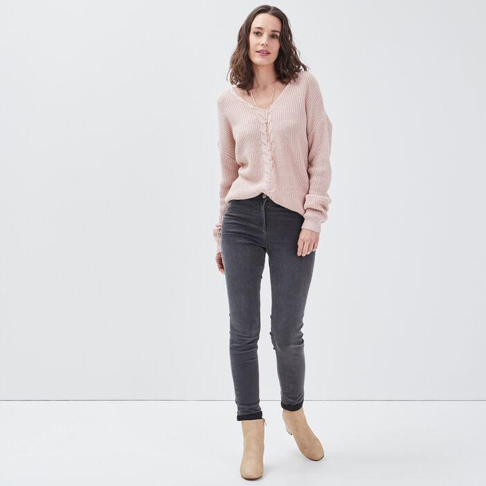 Pantalon ajusté 7/8ème gris femme