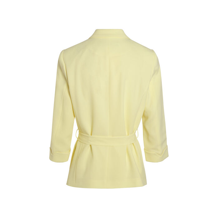 Veste fluide ceinturée jaune pastel femme