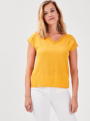 T shirt manches courtes jaune or femme