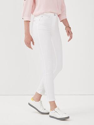Pantalon leger toucher doux blanc femme