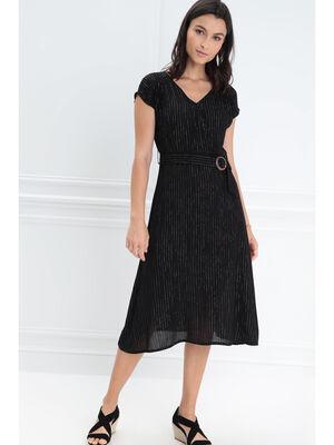 Robe ceinturee col en V noir femme