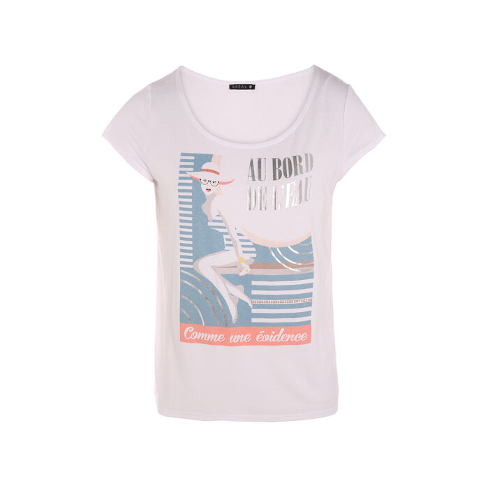 T-shirt manche courte pin-up avant ecru femme
