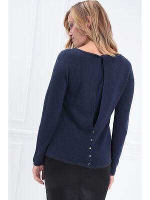 Pull manches longues dos fendu bleu marine femme