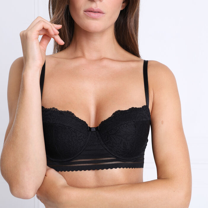 Soutien-gorge avec bande sous poitrine noir femme