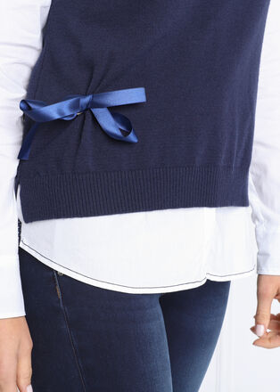 Pull sans manches noue bleu marine femme