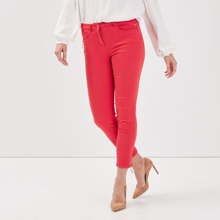 Pantalon 7/8 satin rouge femme