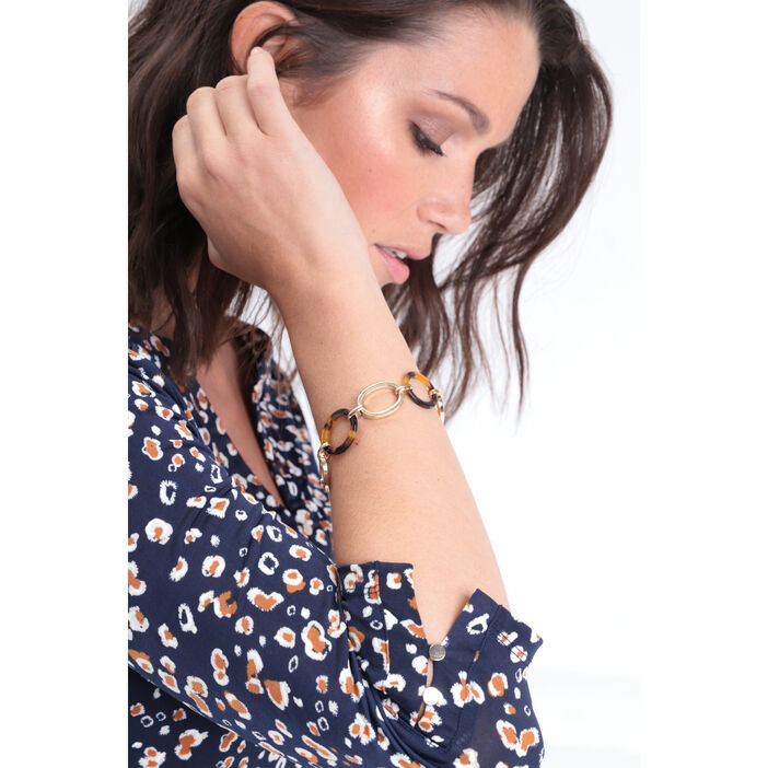 Bracelet à maillons ovales couleur or femme