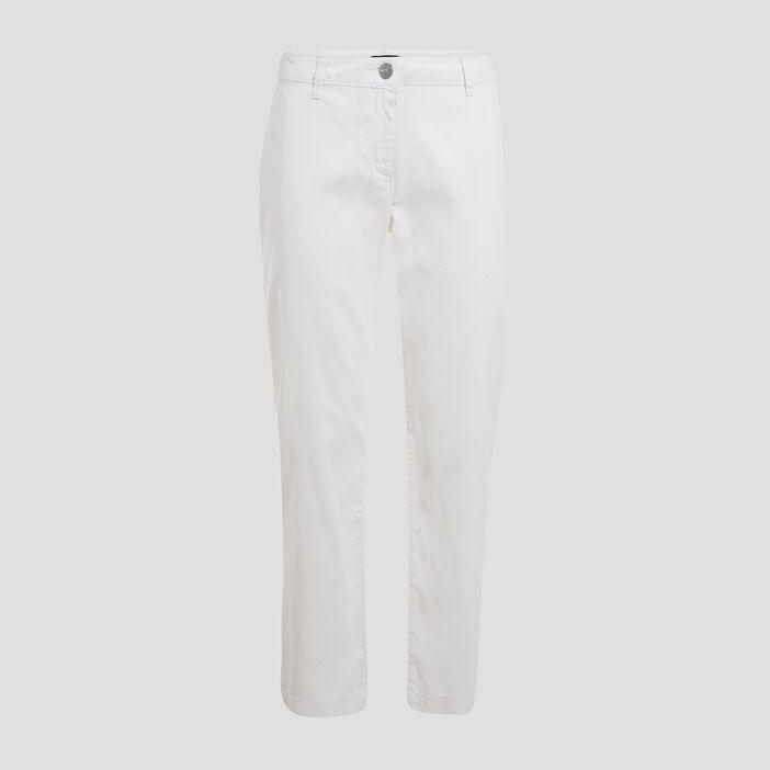 Chino en lyocell enduit blanc femme