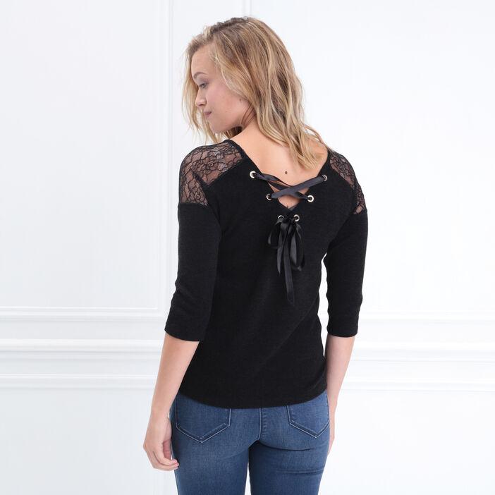 T-shirt manches 3/4 lacets dos noir femme